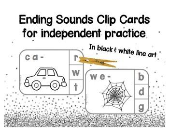 Ending Sounds Clip Cards -  B&W line art