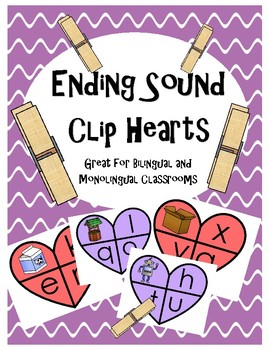 Ending Sounds- Clip Hearts (Spanish and English)
