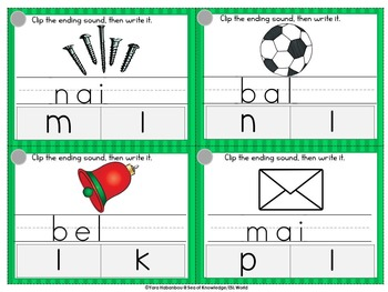 Ending Sounds Clip, Write & Wipe Phonics Cards {67 Cards}