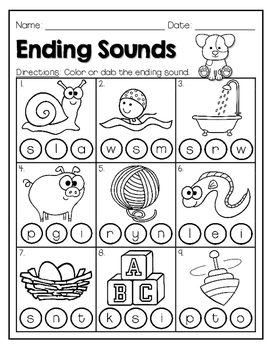 ENDING SOUNDS: Color, Dab, or Write
