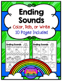 ENDING SOUNDS: Color, Dab, or Write - Worksheets and EASEL