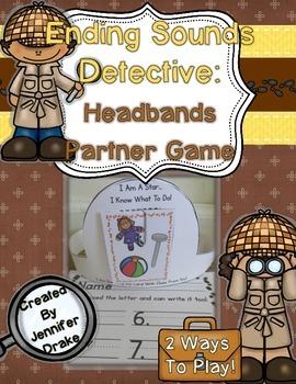 Ending Sounds Detective: Headbands Partner Game for Ending Sound ID