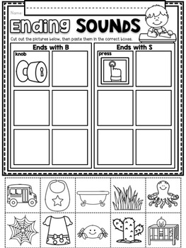Ending Sounds ~ Introductory Phonics and Pre-Reading Skills ~ Printables