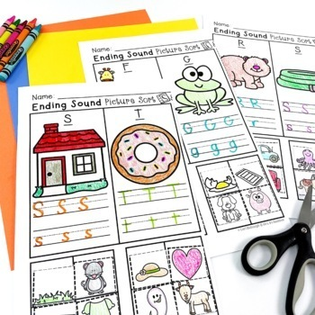 Ending Sounds Picture Sorts and Worksheets