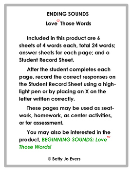 Ending Sounds Love Those Words