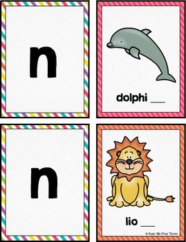 Ending Sounds Match Up Game, Literacy Centers, Beginning of Year