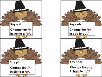 Changing Ending Sounds Phonemic Awareness Thanksgiving Turkey Word Work Daily 5