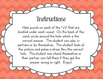 Ending Sounds Poke Task Cards