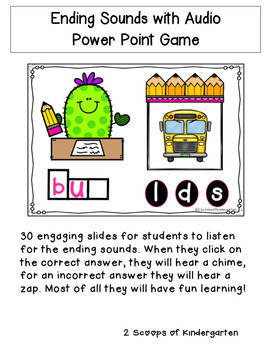 Ending Sounds Power Point Game with Audio