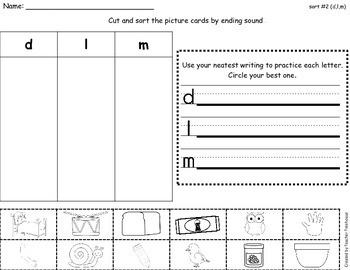 Ending Sounds Sorts and Worksheets