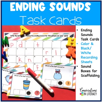 Ending Sounds Task Cards with Sound Boxes