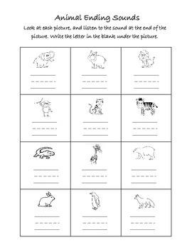 Ending Sounds Worksheet - Animals