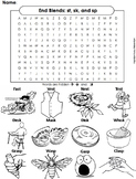 st, sk, and sp Ending Sounds Worksheet: Final Consonant Blends Word Search