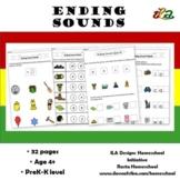 Ending Sounds Worksheets Pack in Colour
