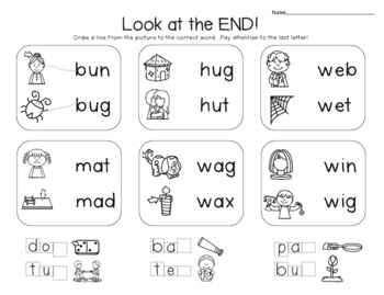 Ending Sounds- activities for learning last or final sounds in words