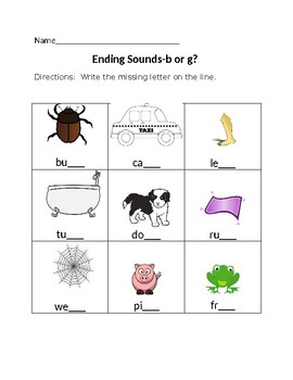 Ending Sounds-b or g?