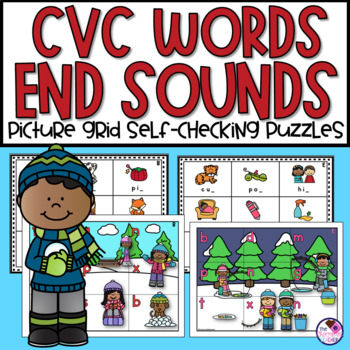 Ending  Sounds in CVC Words Activity Winter Picture Grid Puzzles