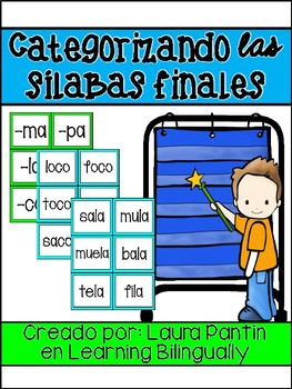 Ending Syllable Cards in Spanish