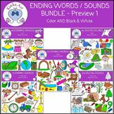Ending Words / Sounds Clip Art Bundle #1