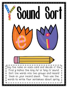 Ending Y Sound Sort