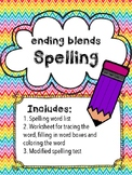 Ending blends Spelling Words, Activities, Modified Assessment