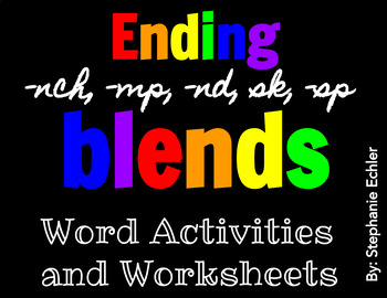 Ending nch, mp, nd, sk, sp Blend Word Activities and Worksheets