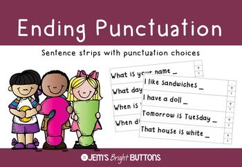 Ending punctuation sentence strips