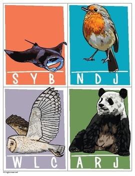 Ending sound cards; Clip cards, Animal alphabet, Letter recognition