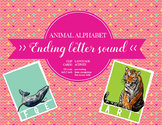 Ending sound cards; Clip cards, Animal alphabet, Letter re