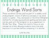 Endings Word Sorts | Orton-Gillingham Spelling List