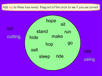 Endings ing and ed SMARTBoard Activities