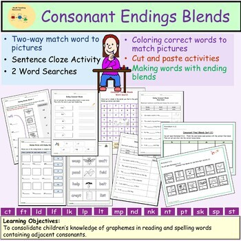 Consonant Blends/Clusters Final/Endings- Worksheets Activities Word Searches