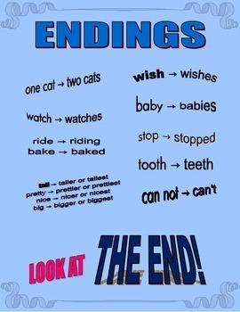 Endings: plurals, past-tense, comparing, irregular plurals, contractions