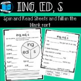 Endings -s, -ed, -ing Worksheets