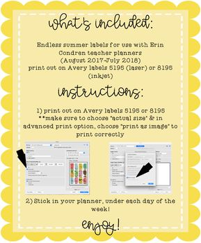 Endless Summer Date Labels Stickers for Erin Condren Teacher Planners 2017-2018