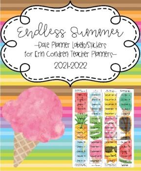 Endless Summer Date Labels Stickers for Erin Condren Teacher Planners 2018-2019