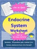 Endocrine System Quiz/Worksheet