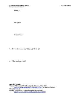 Endocrine System Article (Reading Level 1) Comprehension Worksheet