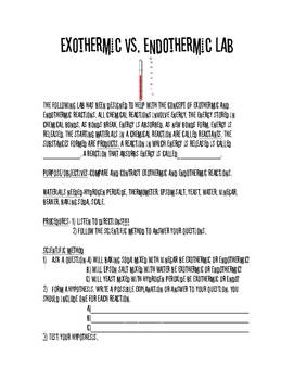 Endothermic vs. Exothermic Lab