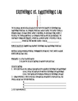 Endothermic vs. Exothermic Lab