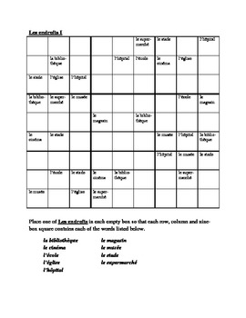 Endroits (Places in French) Sudoku
