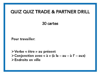 Endroits en ville, être, quiz quiz trade, speaking in French