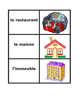 Endroits (Places in French) Vocabulary Concentration games