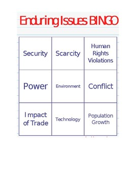 Enduring Issues Bingo!