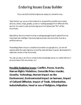 Enduring Issues Essay Builder Practice (Student Based Research)