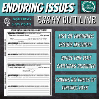 Enduring Issues Essay Pre Writing Organizer