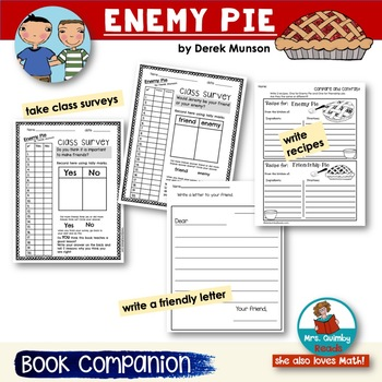 Enemy Pie - Book Companion- Reader Response Page and Writing Prompts