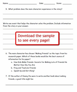 Enemy Pie Reading Comprehension Worksheets for Grades 3-5
