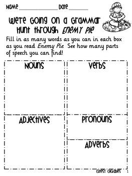 Enemy Pie Worksheet Freebie
