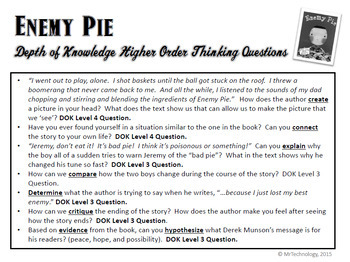 Enemy Pie Interactive Notebook Reading Lessons & Activities Bundle